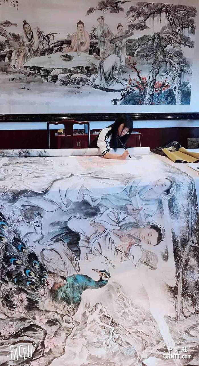 余鍵《道法自然》,國畫, 500X200cm,福州鼓山涌泉寺收藏